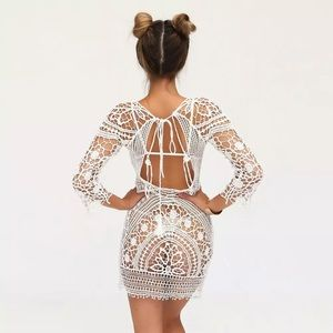 Other - White Crochet Low back Bikini cover up